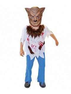 Werwolf-Kinderkostüm Halloween-Kostüm braun-bunt