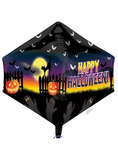 Happy Halloween Folien-Luftballon Halloween Party-Deko schwarz-gelb-lila 43x53cm