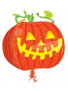 Süsser Kürbis Folien-Luftballon Halloween Party-Deko orange-grün 40cm