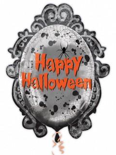 Schauriger Spiegel Folien-Luftballon Halloween Party-Deko grau 63x78cm