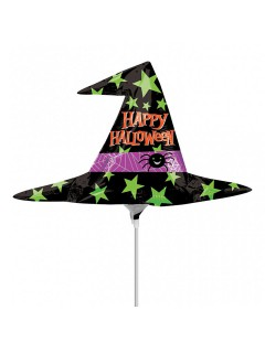 Happy Halloween Hexenhut Folien-Luftballon Halloween Party-Deko schwarz-bunt 43x37cm