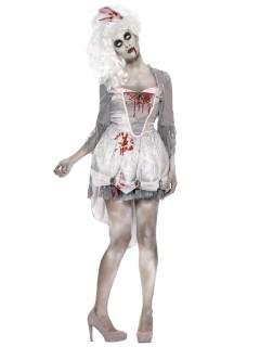 Barock Zombie-Kleid für Damen weiss-grau