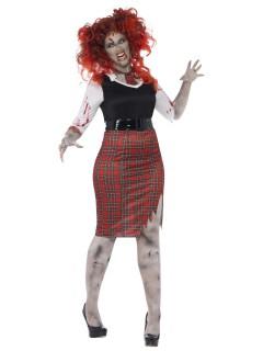 Zombie Schülerin Halloween Damenkostüm Übergrößen schwarz-rot-weiss