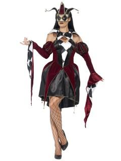 Venezianische Harlekin-Dame Halloweenkostüm rot-schwarz-weiss