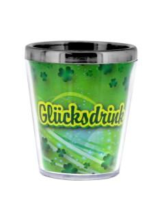 Sprüche Schnapsglas Glücksdrink grün-gelb-silber 40ml