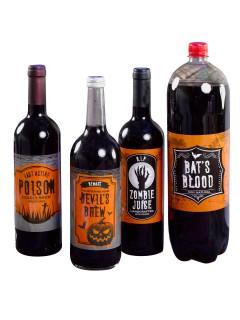 Halloween Flaschen-Label Halloween-Deko 4 Stück orange-schwarz 12x33cm