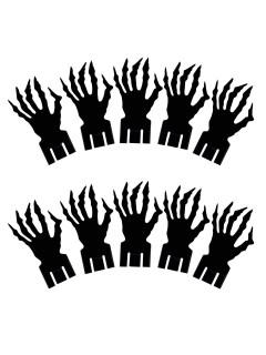 Zombie Hände Glas-Markierer Halloween Party-Deko schwarz 9,2x5,5cm 10 Stück
