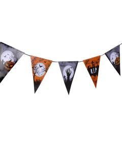 Schaurige Wimpelgirlande Halloween Party-Deko orange-schwarz-weiss 250x22cm