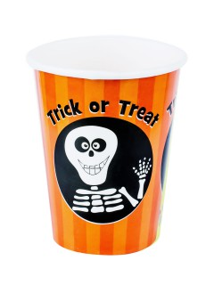 Trick or Treat Skelett Pappbecher Halloween Party-Deko orange-schwarz 8 Stück 230ml
