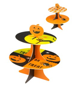 Trick or Treat Etagere Halloween Party-Deko schwarz-orange 27x25cm