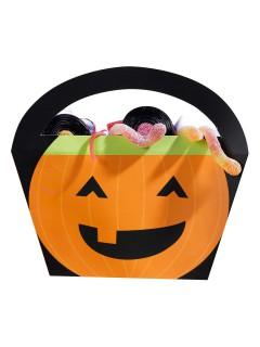 Lachende Kürbisse Trick or Treat Taschen Halloween 4 Stück orange-schwarz 20x22x4cm