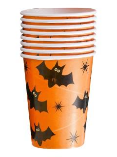 Süsse Fledermäuse Pappbecher Halloween Party-Deko orange-schwarz 230ml 8 Stück