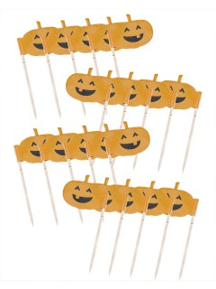 Lachende Kürbisse Halloween Cupcake Deko-Sticks 20 Stück orange 7cm