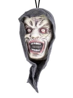 Schreiender Zombie-Kopf Halloween-Hängedeko bunt 23x13cm