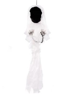 Gesichtsloser Geist Halloween Hängedeko schwarz-weiss 90cm