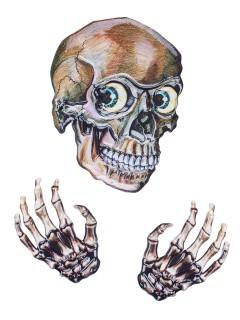 Verrücktes Skelett 3D Sticker-Set Halloween-Deko 3-teilig bunt