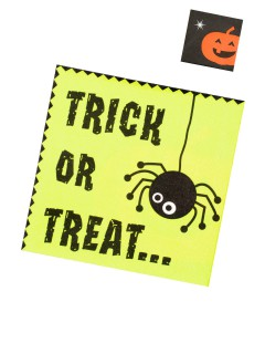 Trick or Treat Süsses oder Saures Servietten-Set für Halloween 20 Stück grün-schwarz-orange 33x33cm