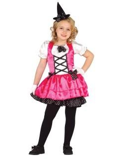 Hexen-Kostüm für Kinder Halloweenkostüm pink-schwarz-weiss