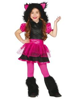 Wolf-Kostüm für Kinder Halloweenkostüm pink-schwarz