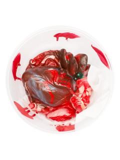 Blutiges Herz mit Bandagen Halloween Party-Deko rot 17,5x7,5cm