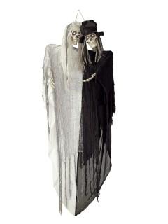 Skelett-Brautpaar Halloween-Hängedeko schwarz-weiss 150cm