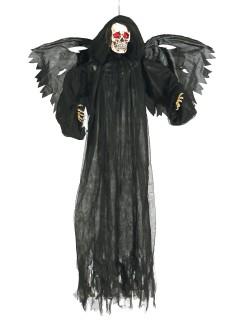 Todesengel Sensenmann mit Leuchtaugen Halloween-Hängedeko schwarz 165cm