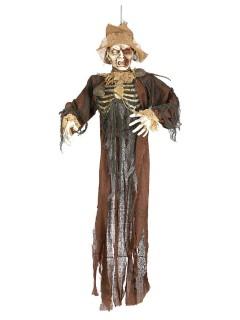 Gruselige Zombie-Vogelscheuche Halloween braun-beige 150cm