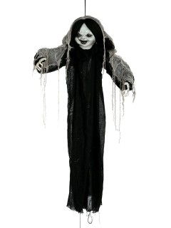 Grausige Horror-Puppe Halloween-Hängedeko schwarz-weiss 120cm