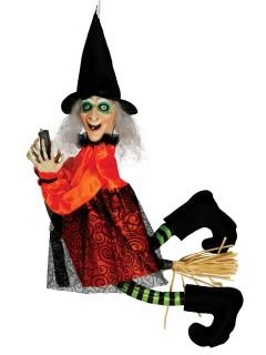 Fliegende Hexe auf Besen animiert mit Leuchtaugen Halloween-Hängedeko bunt 65cm