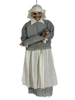 Zombie-Kinderfrau mit Baby Halloween-Hängedeko grau-weiss 90cm