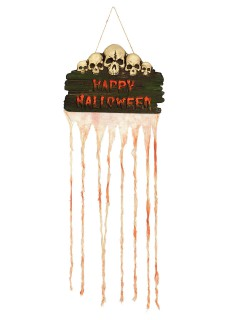 Happy Halloween Totenkopf-Türdekoration weiss-rot-braun 35x80cm