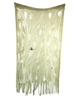 Zerrissener Spinnwebenvorhang Halloween-Deko beige 120x200cm