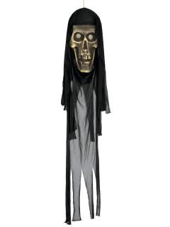 Schauriger Totenschädel mit Leuchtaugen Halloween-Hängedeko grau-beige-schwarz 22x150cm