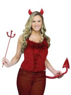 Teufelin-Samt-Corsage mit Plüsch rot