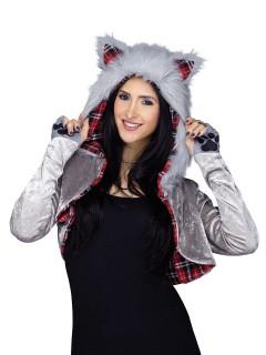 Wölfin Kostüm-Set Bolero und Mütze mit Ohren grau