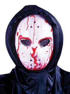 Blutige Hockey-Maske Halloween Serienkiller weiss-rot