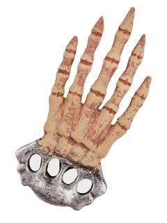 Skeletthand Schlagring-Attrappe silber-beige 31cm
