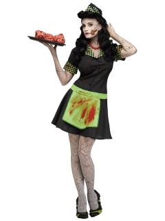 Zombie Diner-Bedienung Halloween-Damenkostüm schwarz-grün