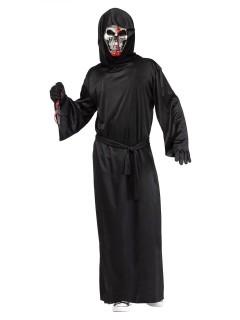 Blutiger Sensenmann Halloween-Kostüm Skelett schwarz