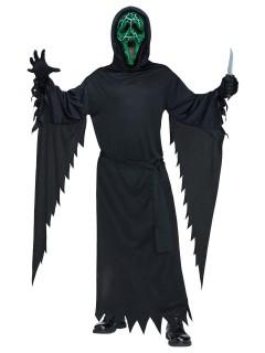 Scream Halloween-Kostüm Ghost Face mit Leuchteffekt grün-schwarz