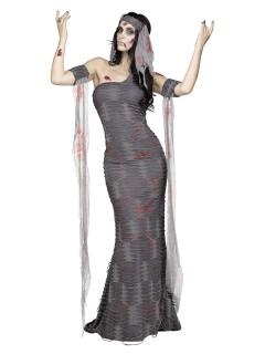 Zombie-Mumie Halloween-Damenkostüm grau