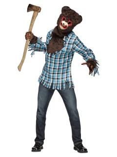 Psycho-Teddybär Halloweenkostüm braun-blau