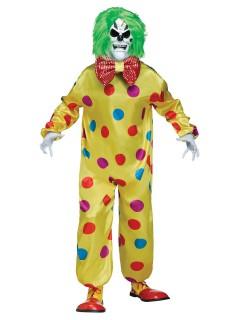 Horror-Clown Halloweenkostüm mit Farbwechsel gelb-bunt