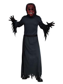 Schwelender Teufel Halloweenkostüm mit Leuchteffekt rot-schwarz