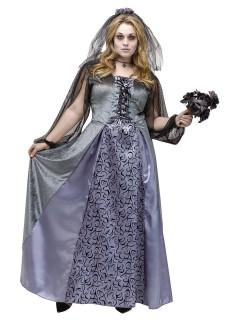 Gothic Braut Halloween-Damenkostüm Übergrössen grau-lila-schwarz