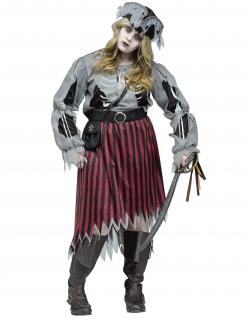 Geister-Piratin Halloween-Damenkostüm Zombie Übergrössen grau-rot