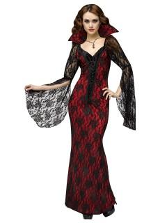 Elegantes Vampir-Damenkostüm Deluxe Halloweenkostüm schwarz-rot