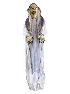 Verwester Zombie mit Leuchtaugen Mega-Halloween-Hängedeko Figur beige-grau-schwarz 360cm