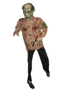 Zombie-Polizist Deko lebensgross Halloweendeko rot-beige 170cm