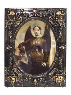 Horror Portrait Todesengel animiert mit Sound und Leuchtaugen Halloween-Deko schwarz-beige 29x37cm